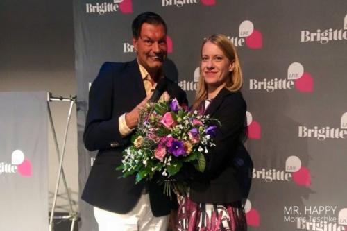Caroline Peters mit Morris Teschke bei der Brigitte